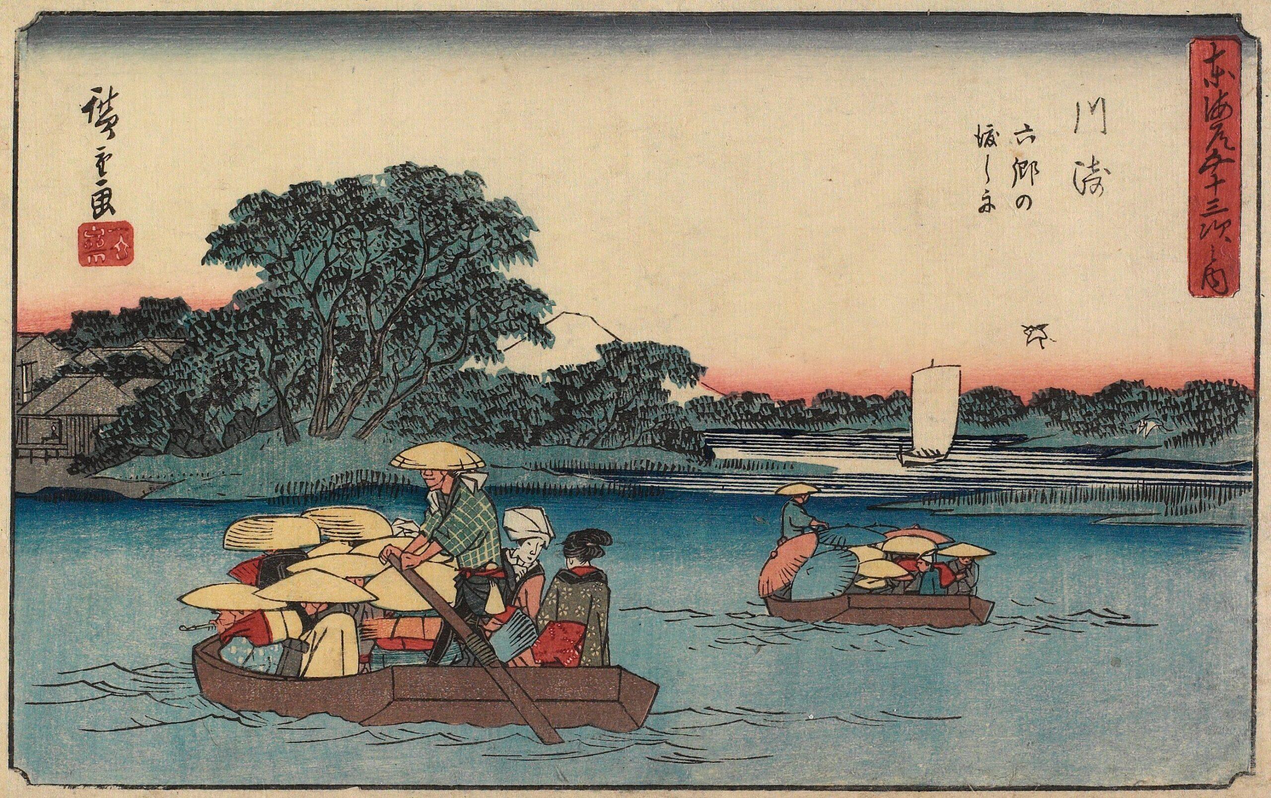 Holzschnitt zweier Bote auf einem Fluss