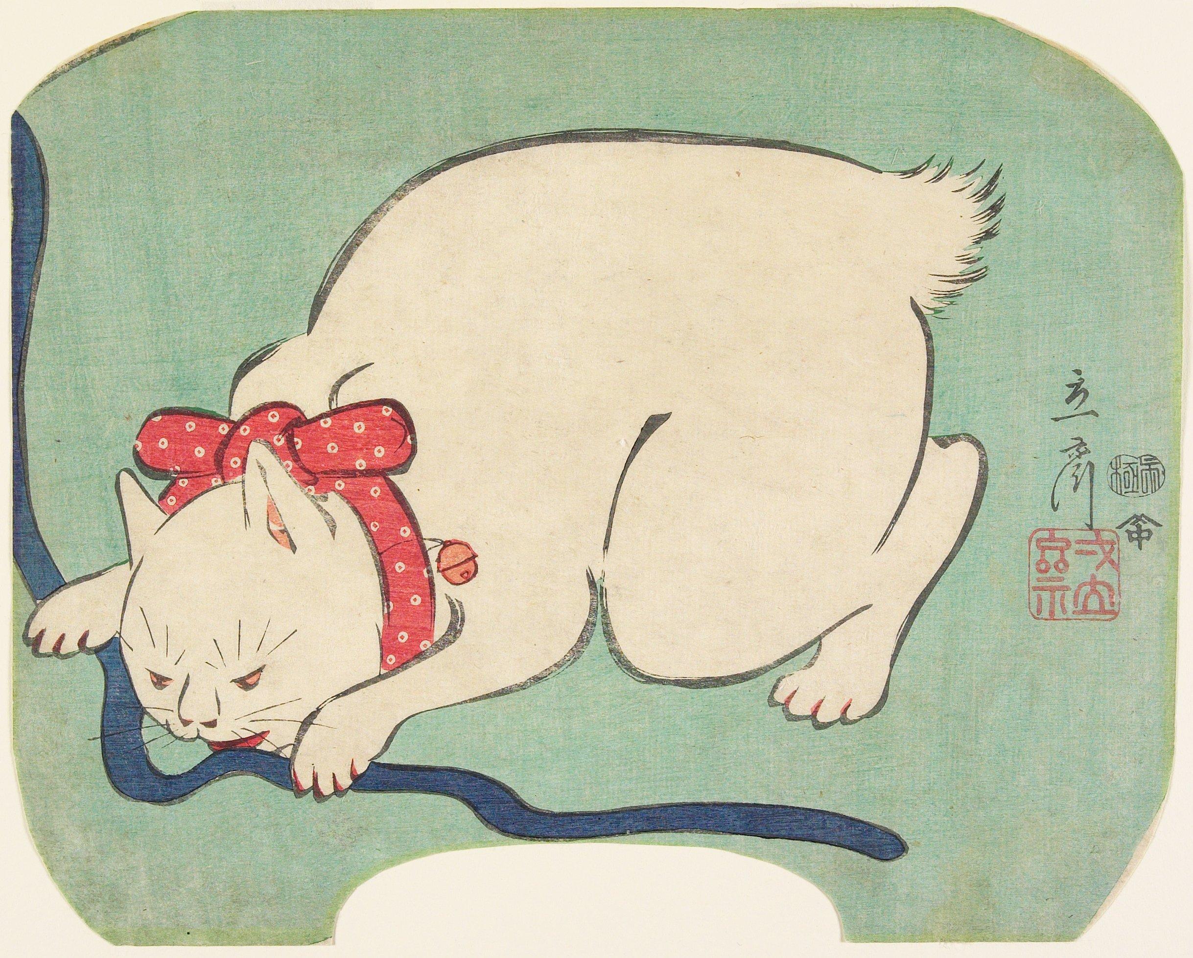 Holzschnitt einer weiße Katze