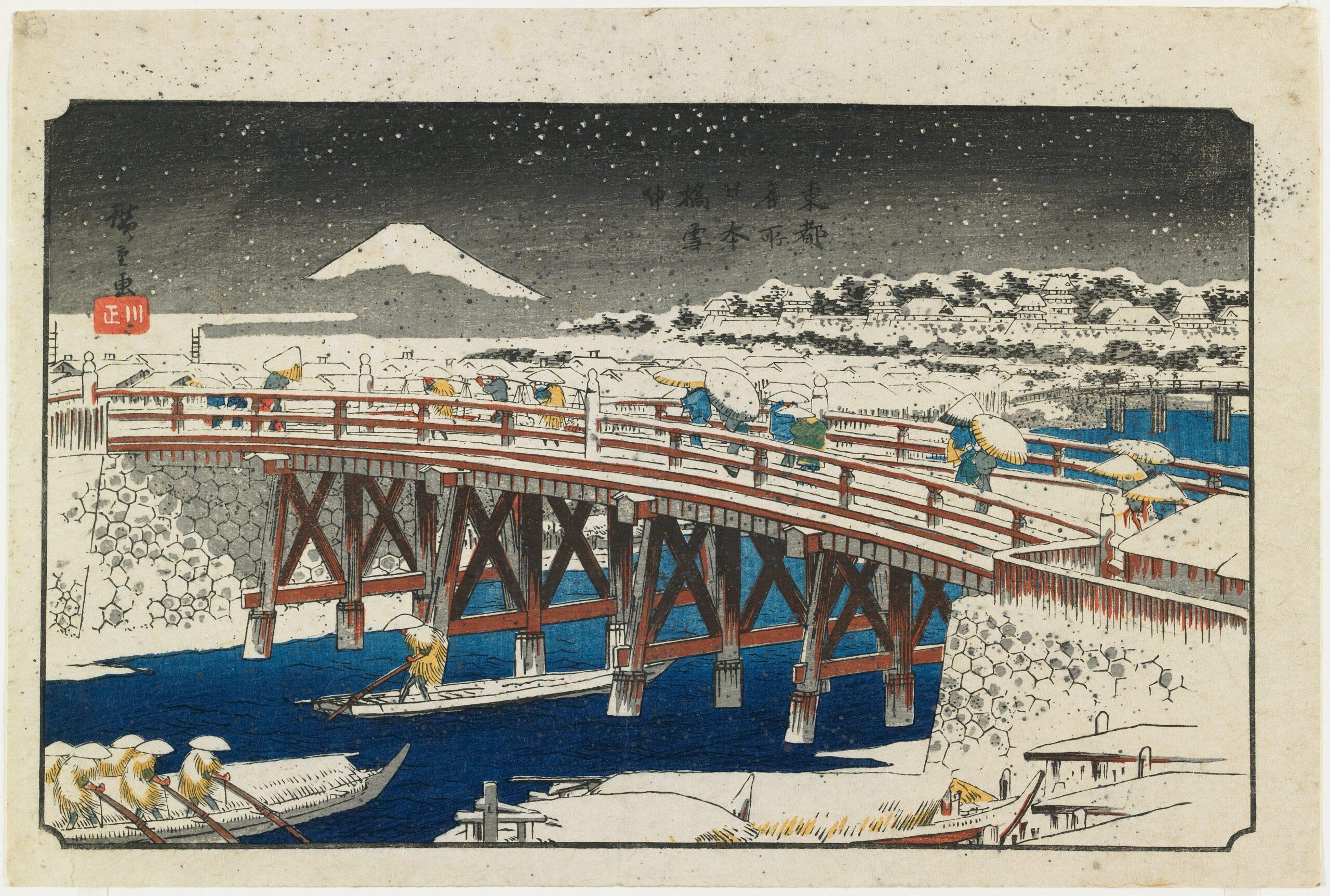 Holzschnitt einer japanischen Winterlandschaft